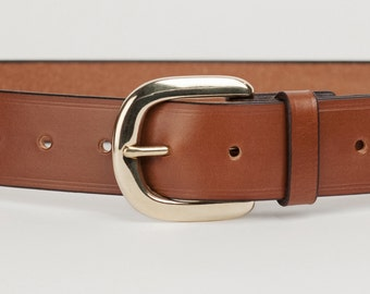 Mid Brown Bridle Leather Belt with 1.5 inch Horseshoe Buckle