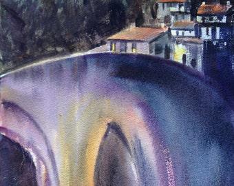 Le Marche Bridge Original Watercolor Bridge at Mercatello Italian Small Painting Italy Art Italian Villa at Sunset Tuscany Italy Painting