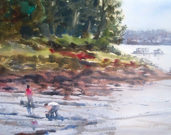 Clammers Watercolor Original Digging for Clams Small Painting Maine Coast Landscape Seascape Coastal Art Green Red Yellow Low Tide in Maine