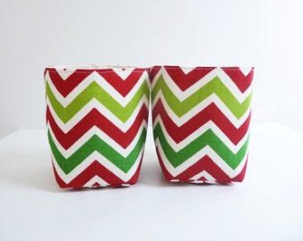 Holiday Fabric Storage Basket Organizers in Premier Prints Zoom Zoom Chevron/ Zig Zag - Gift Basket - Set of 2 Small Bins