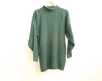 nordic 90s CABLE knit thick aqua green sweater