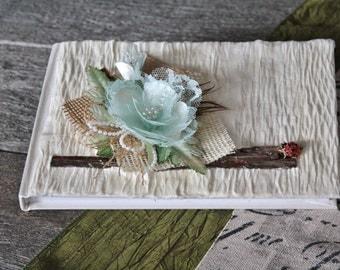 Wedding Guest book/Green aqua guestbook/Lace and burlap guest book/Crepe paper guestbook/Rustic guestbook/Wood guestbook/Ladybug guestbook/