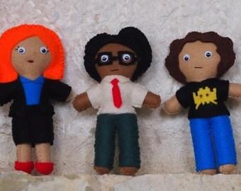 IT Crowd Inspired Felt Plush Figures set of three - Moss, Roy & Jen