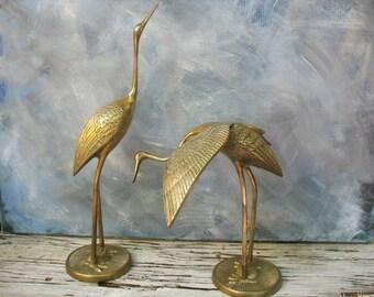 Brass cranes, pair of cranes, vintage solid brass crane figurine, Mid Century Modern zen, Hollywood Regency