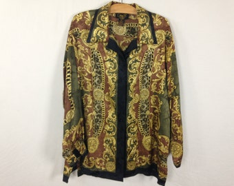 90s silk royalty button up shirt size XL