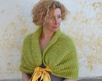 Bridesmaid  shrug, knit evening shawl, lime green wedding capelet, mohair bridal shawl