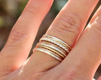 Valentines Day Gift Sale Set of 8 Tri Color Stacking Rings - Sterling Silver, 14K Rose Gold Filled, and 14K Gold Filled - Mixed Metals