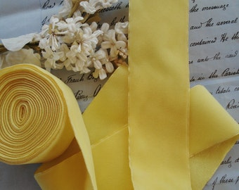 "1y Vintage 2 1/8"" Easter Shabby Deep Yellow Rayon Lush Velvet Millinery Ribbon Trim Ladies Hat Victorian French Flapper Dress Belting Bow"