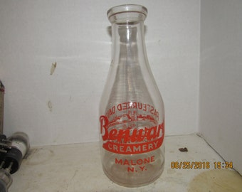 "1964 Benware Creamery Malone NY Orange Pyro Qt 9 3/4""  Milk Bottle"