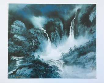 Turquoise Waterfall Landscape Print