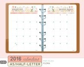 A5 2016 YEARLY and MONTHLY CALENDAR - Printable Planner Inserts - Flora Theme