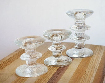 Set of 3 Iittala Festivo Candle Holders Designed by Timo Sarpaneva Made in Finland