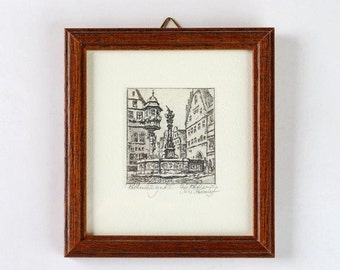 Willi Foerster Etching of St. George Fountain in Rothenburg Germany