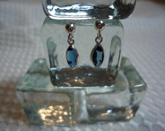 Marquise Cut London Blue Topaz Dangle Earrings in Sterling Silver  #1855