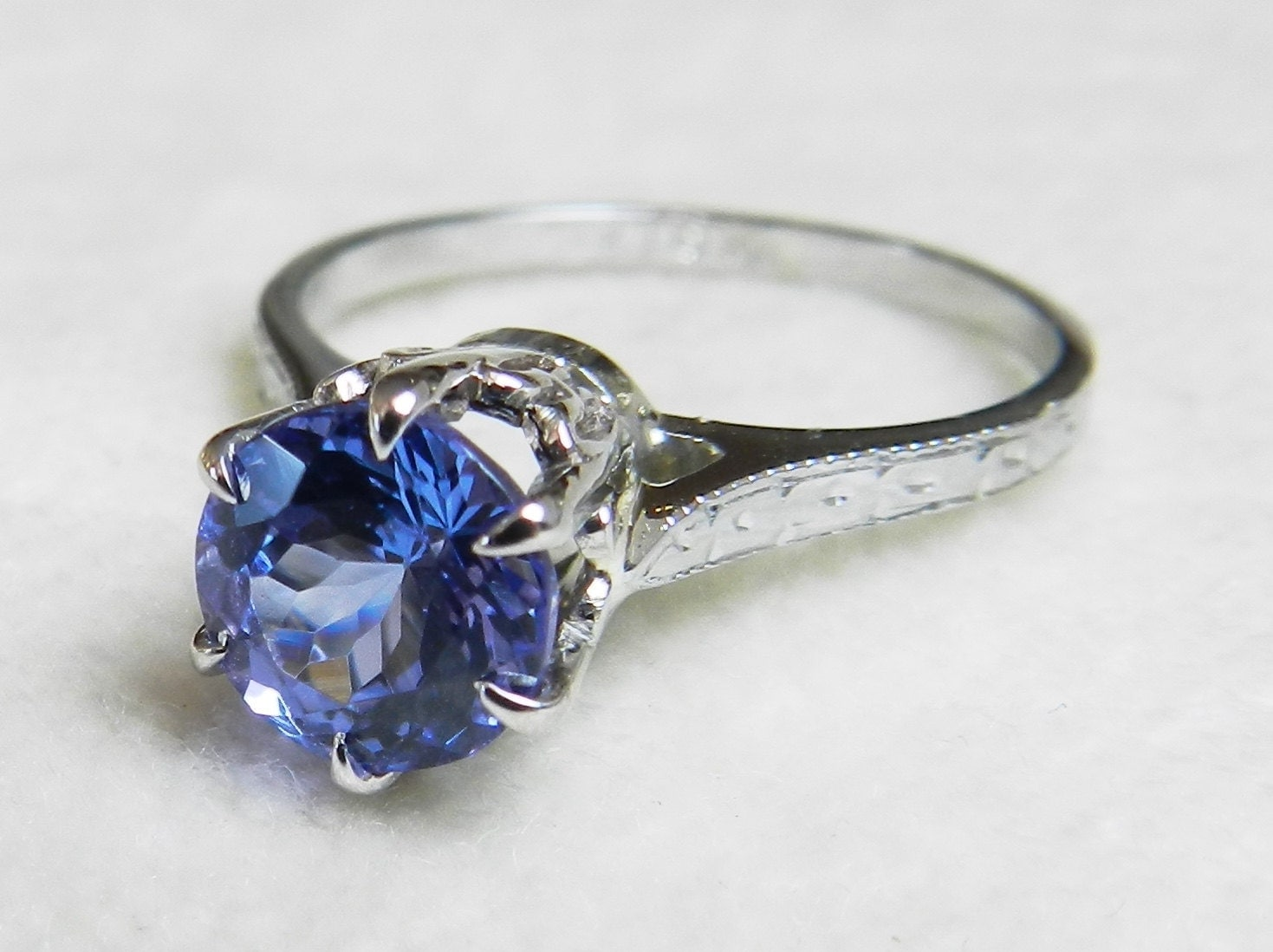 Tanzanite Engagement Ring 18K Ring Vintage Antique Engagement