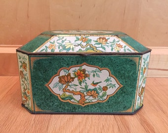 SALE! lovely Chinoiserie birds and flowers tin