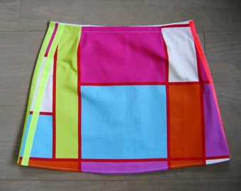 Mondriaan meets Adidas, A-line skirt, colorblock, lines, upcycled cotton, fluorescent pink lime purple orange blue red white, size Small