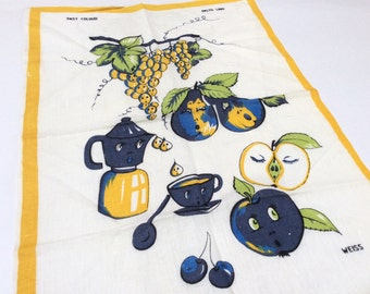Vintage Linen Cotton Tea Towel, Anamorphic Fruit, Never Used, 1950s