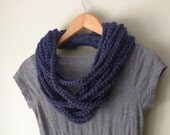 Navy Scarf Necklace . Mid...
