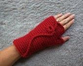 Red Fingerless Glove . Va...