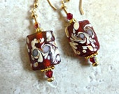 Red Floral Glass Earrings With Gold Beads