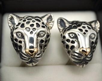 Dian Malouf Leopard Clip Earrings Sterling Silver 14k Gold Nose