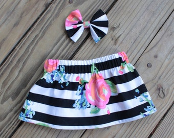 Black and white stripes and floral Little Girl Skirt with Matching Bow. Birthday Outfit, Christmas, Party Outfit