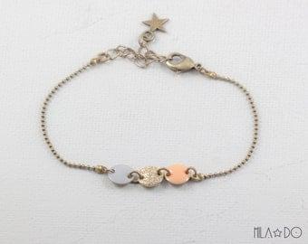 Trio bracelet gray gold glitter apricot || Resin and brass round bracelet