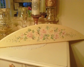 Cottage Shabby Chic Widow\Door Accent  Hand painted in antique white with Pale Yellow and Pink Roses with light Blue accent  flowers.