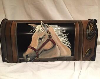 Equestrian,Horse, Palomino-custom mailbox- handpainted custom design available