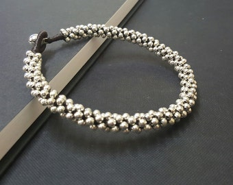 Around  Silver  Ball Anklet