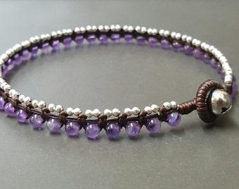 Round  Amethyse Silver  Bracelet