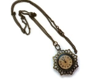 Necklace clock  antique brass