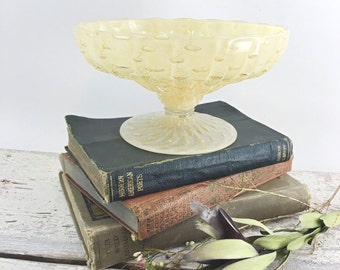 Vintage Hand Blown Footed Mid-Century Candy Dish