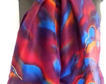 New Zealand Kiwi Bird, Koru Silk Scarf, NZ native Bird, hand painted, Gold, Blue, Burgundy, Silk scarf, handpainted Scarf, Gift Online,