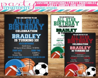 All Star Birthday Invitation, all-star birthday invitation, allstar birthday, sports birthday, football, soccer, basketball, baseball  #161