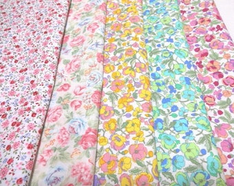 SALE Japanese Fabric Flower Grrden  FQ 5Pices