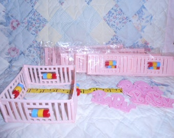 Baby Girl Shower Decor-Pink Playpens and Small Cake Toppers