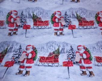 SALE   Santa Claus Christmas Fabric-One Yard