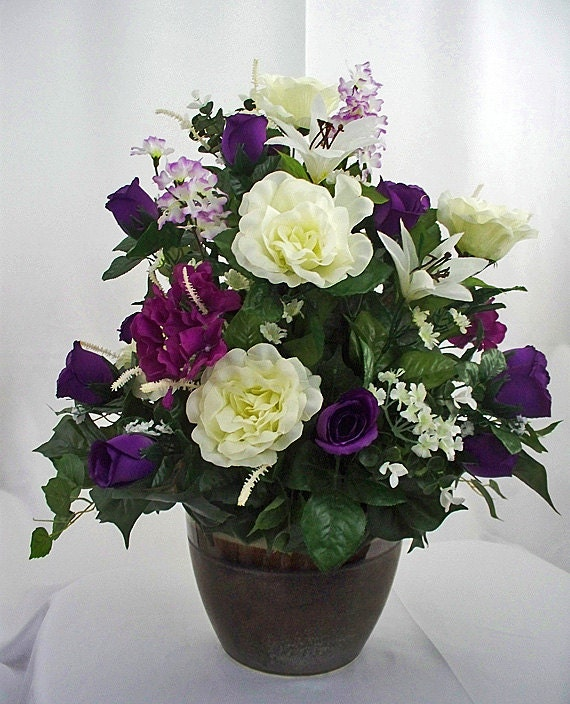 Silk Flower Arrangements Church Altar: Purple Flower Arrangement Silk Flower Table Centerpiece