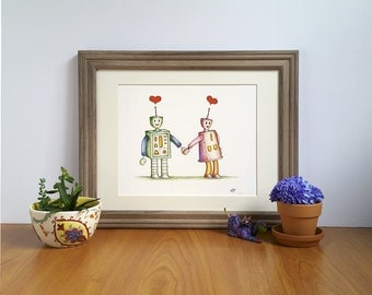 Valentine Art, Loving Robots, Fine Art Print, Robot Couple, Valentine gift, Wedding Illustration, Couple with Hearts, Engagement gift