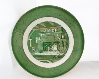 ON SALE Vintage, Dinner, Plate, Colonial Homestead, Green & White, Set of 2, Royal, USA, Cottage Chic, Serving