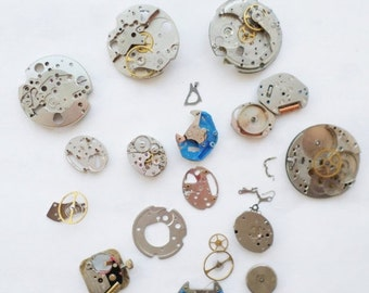 ON SALE 1.5oz of Watch Parts, Gears, Hands,Face, Destash, Supplies, Salvaged, Assemblage, Art, Craft, Steampunk, Altered Art, Odds and Ends