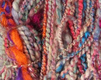 WINTER MUSIC YARN,  priced per 10 yds, handspun, sequins, art yarn, thick/thin yarn, 2-ply, super bulky yarn, sari silk, homespun