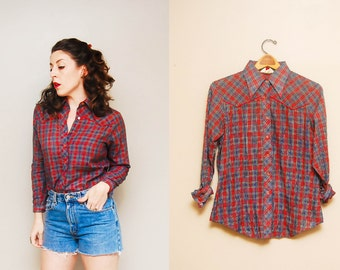 Vintage 1970s Plaid Western Button Up Shirt / 70s Blue and Red Collared Shirt / Long Sleeves / Large