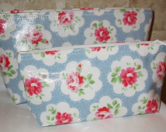 2 Makeup Bag made with Cath Kidston oil cloth material Provance Blue