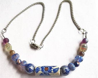 "20"" Necklace: Blue & White Flower Patterned Ceramic Bead, Blue and Silver Wood Beads, Blue and Orange Agate, Silver Colored Box Chain"