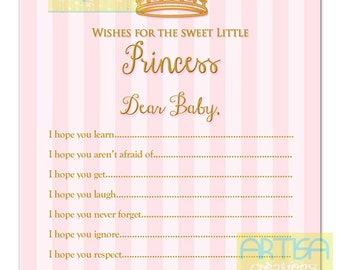Princess Wishes for Baby Card, Blush and Gold WIshes Card, pink and gold wishes for baby, princess wishes card, baby wishes card, baby wish