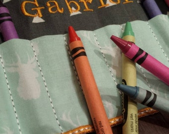 Mini Crayon Holder with Optional name or monogram. Orange, mint and grey. Arrows and moose. Roll up Crayon Pouch