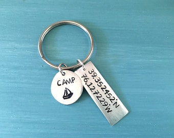 Camp Memory - Custom Hand Stamped Keychain with Latitude Longitude Coordinates of your favorite camp | Camp Counselor gift.  Camper gift.